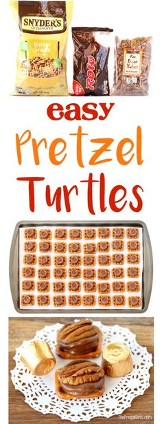Easy Pretzel Turtles Recipe!  The delicious combination of salty pretzels with Pecans and Rolo candies make these treats disappear as fast as you can make them!  SO simple and delicious! | TheFrugalGirls.com