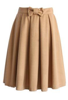 Bowknot Pleated Midi Skirt in Tan