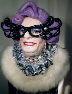 Dame Edna Needle felted wools, crocheted cotton, crystal beading and rhinestones Dame Edna, Felt Art, Needle Felting, Wool Felt, Rhinestones, Beading, Halloween Face Makeup, Crystals, Crochet