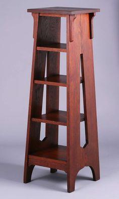 Brooks Furniture Co tall, cutout magazine stand. Wood Pallet Furniture, Cabinet Furniture, Woodworking Furniture, Fine Furniture, Diy Woodworking, Craftsman Style Furniture, Mission Style Furniture, Craftsman Lamps, Arts And Crafts Furniture