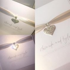 Heart charm wedding invitations with ribbon elegant pearlescent design traditional creased card silver and rose gold Invites, Wedding Invitations, Heart Charm, Ribbon, Rose Gold, Traditional, Elegant, Bracelets, Silver