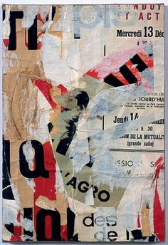 Jacques Villeglé - Rue Jacob December 1, 1961 décollage mounted on canvas 15 1/4 x 10 1/2 inches JV 96 #decollage