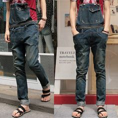 Free Shpping 2013 Mens Skinny Jean Overalls Distrressed Bib Pants Personality Suspenders Multi pocket Hole Denim Trousers-inJeans from Apparel & Accessories on Aliexpress.com
