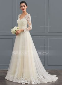 [US$ 212.29] Ball-Gown V-neck Sweep Train Tulle Wedding Dress (002124280)