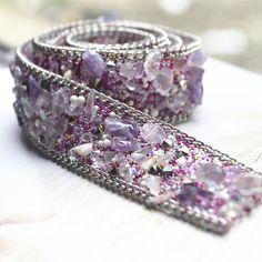 Luxury beaded lace trim with gems  for bridal wedding belt trim, crystal beaded trim