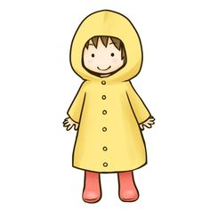 子供が雨合羽を着たイラスト