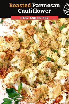 Roasted Parmesan Cauliflower is a simple, tasty and easy side dish your family will love. Cauliflower florets are tossed with olive oil, Panko bread crumbs, Parmesan cheese and spices and oven roasted until tender, golden brown and crispy on the outside! #baked #Parmesan #cauliflower #sidedish #vegetarian Pasta Side Dishes, Pasta Sides, Side Dishes Easy, Food Dishes, Pork Recipes, Lunch Recipes, Easy Recipes, Easy Meals, Veggie Diet
