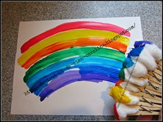 Rainbow painting made easy! Great craft for St-Patty's Day or Spring craft