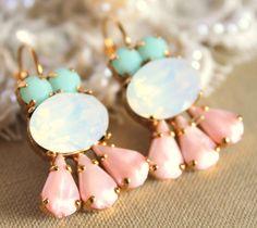 Crystal aqua mint opal pink earring  14k plated gold  by iloniti, $56.00