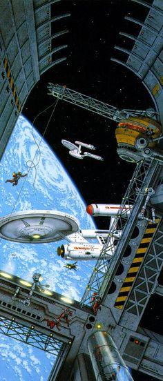 Sci-Fi Art — Star Trek art by David Mattingly Star Trek Original, Star Wars, Star Trek Tos, Stargate, Interstellar, Nave Enterprise, Deep Space Nine, 70s Sci Fi Art, Star Trek Starships