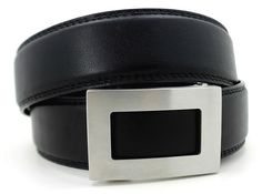 A new kind of belt for men - perfect fit with no holes. Shown; icon buckle with black belt. Shop @ http://www.KoreEssentials.com