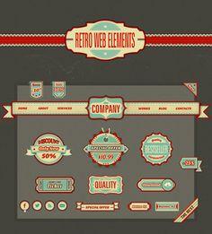 Free Retro Web Elements Free PSD File #freepsdfiles #mockups #templates #uikits App Ui Design, User Interface Design, Game Design, Web Design, Graphic Design, Retro Design, Flat Design, Free Photoshop, Photoshop Brushes
