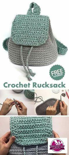 Rucksack / Backpack / Bag - learn how to crochet - knitting is as easy as 1 . - Rucksack / Backpack / Bag – learn how to crochet – knitting is as easy as 3 Knitting boil - Crochet Diy, Crochet Simple, Learn To Crochet, Crochet Crafts, Diy Crochet Projects, Crochet Ideas, Easy Things To Crochet, Crochet Bag Tutorials, Crochet Amigurumi