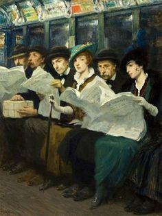 Subway riders, New York City, 1914, by Francis Luis Mora.