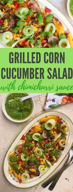 Corn cucumber salad with Chimichurri sauce Grilled Corn Salad – Summer COrn Salad – Grilled corn and a bunch of other colourful vegetables, topped with vibrant flavourful Chimichurri sauce is a must try when corn is in season Vegetarian Salad Recipes, Vegan Recipes, Cooking Recipes, Delicious Recipes, Corn Recipes, Cooking Ideas, Food Ideas, Summer Corn Salad, Side Dishes