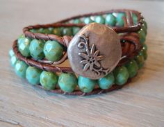 """Beaded leather wrap bracelet - turquoise, silver, """"Rustic Bohemian"""" distressed brown leather, fall autumn boho chic"""