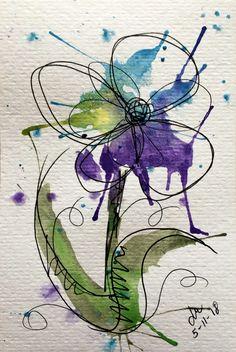 Whimsy flower. Original Donna Hawk