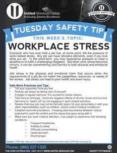 This week's Tuesday Safety Tip is about Workplace Stress. The credit for this week's safety information was provided by The Center for Construction Research and Training and the American Psychological Association. Safety Talk, Safety Meeting, Driving Safety, Health And Safety Poster, Safety Posters, Safety Slogans, Office Safety, Workplace Safety, School Safety