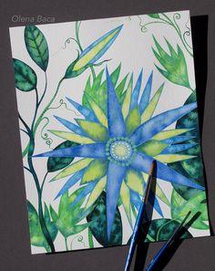 Flower painting by Olena Baca. Watercolor art.