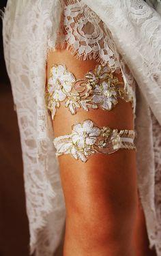 Bridal Garter Set Wedding Garter Set  Gold Ivory by NAFEstudio