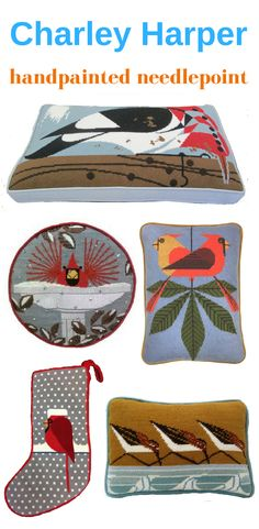 Contemporary handpainted needlepoint that suits any decor, from the iconic art of the illustrator Charley Harper.