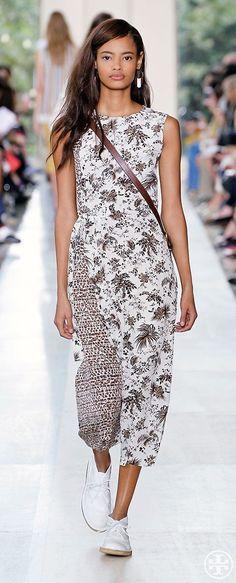 Tory Burch Beige Mixed Print Silk Crewneck Dress Runway Whey Tropical | eBay