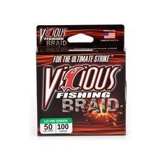 50lb Vicious Fishing Moss Green Braid - 100 Yard Spool
