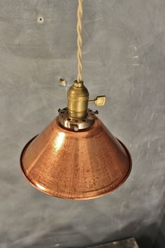 Weathered Copper Pendant Lamp  Vintage Industrial Hanging