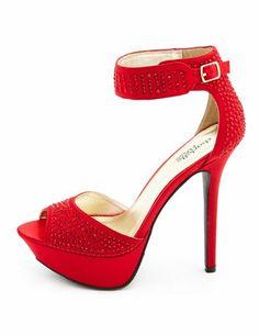 Rhinestone Satin Ankle-Strap Heel: Charlotte Russe