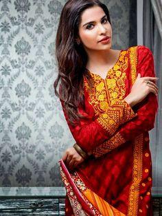 Gul Ahmad Eid Royal Festive Dresses 2014.  Love the rust autumn colors. Sharp and alluring.
