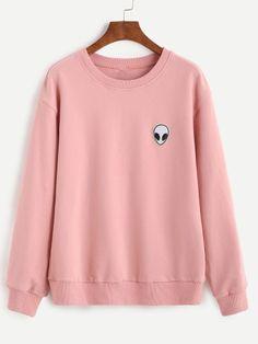 Sweatshirt Drop Schulter mit Alien Patch - rosa
