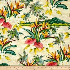 Hoffman Tropical Collection Volcano Ivory from @fabricdotcom  From Hoffman Fabrics, this fabric is perfect for quilting, apparel and home décor accents. Colors include green, coral pink, purple, white, yellow and ivory.