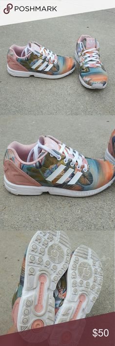 Adidas Hawaiian print Zx Fluxs Worn less than 5 times Size 6.5 Runs a little big Zx Flux No style no longer made No Trades Adidas Shoes Sneakers