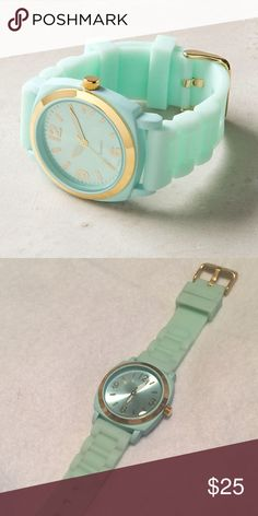 """Anthropologie Viscid Watch A bright gummy strap is lent sophistication from serious gold hardware.  Rubber, metal, glass 9""""L, 1.5""""W Anthropologie Accessories Watches"""
