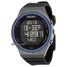 Seiko digital Dial Negro del caucho de silicón del reloj de Mens STP015
