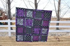 This is a fun purple, black, and zebra print flannel pattern and cotton rag quilt. Measuring 44x44 inches. Perfect size for a crib, throw, or