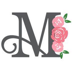 Silhouette Design Store: floral monogram m