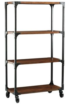 "Industrial ""lofty-like"" bookcase... i already have the metal bc, just need the wooden covers and casters, and it'll be ready to shine ;)"