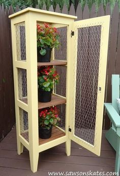 diy patio garden cabinet to display and protect plants, container gardening, how to, outdoor living, painting wood furniture, woodworking projects
