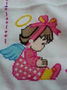 Baby Cross Stitch Patterns, Animal Knitting Patterns, Cross Stitch For Kids, Cross Stitch Designs, Cross Stitch Angels, Cross Stitch Cards, Cross Stitching, Cross Stitch Embroidery, Hand Embroidery Design Patterns
