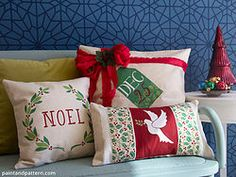 How to Stencil Festive Christmas Pillow Cases Print This Post