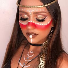 Native American Makeup, Native American Face Paint, Native American Women, Maquillage Halloween, Halloween Face Makeup, Cleopatra Halloween, Make Up India, Make Carnaval, Silvester Make Up