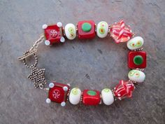 Red & Green Lampwork Beads & Bali Silver Bracelet w/ Star Toggle Clasp   SomewhitherArts - Jewelry on ArtFire