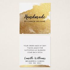 HANDMADE glamorous luxe faux gold foil splash Square Business Card - hair stylist gifts business cyo diy custom create
