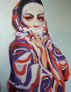"Blue Contemporary #Artist: Georgi Andonov ""Dames III"" 47 x 39 in, Oil on canvas £6,000.00    #contemporary #art #FigurativeArt #woman #veil"