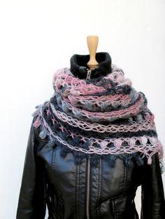 Hand Crocheted Shawl Crochet Neckwarmer Mohair by crochetbutterfly, $69.00