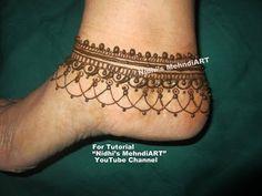 "YouTube unique anklet pattern jewelry ornament design inspired feet mehndi henna design tutorial art creation for feet. Search ""Nidhi's MehndiART"" YouTube channel for all kind of mehndi henna design tutorial. #fashion #jewellery #trend #bridal #bride #wedding #marriage #festival #tradition #beautiful #girl #london #paris #canada #us #india #surat #ahmedabad #uk #arabic #floral #gulf #dubai #henna #mehndi #mehandi #art #drawing #tattoo #design"