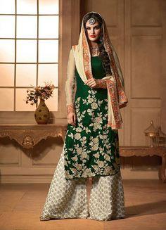 Bottle Green Straight Plazzo Styled Velvet Salwar Suit