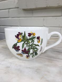 vintage Portmeirion Botanic Garden violet large coffee cup, butterflies, moths, by MotherMuse on Etsy