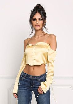 Dusty Yellow Silky Cold Shoulder Cropped Blouse - New